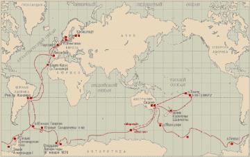 Карта путешествия Беллинсгаузена и Лазарева