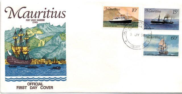 Маврикий - конверт первого дня, корабли, 1972
