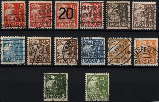 Стандартные марки Дании, 1927-1940