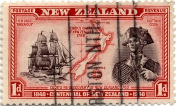 Марка Новой Зеландии - Джеймс Кук и парусник Endeavour