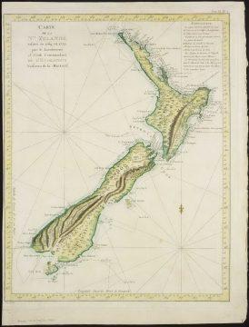 Карта Новой Зеландии, составленная Джеймсом Куком