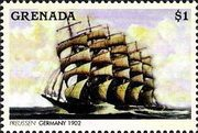 Марка парусник Пруссия - Гренада