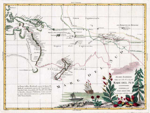 Карта первого путешествия Джеймса Кука