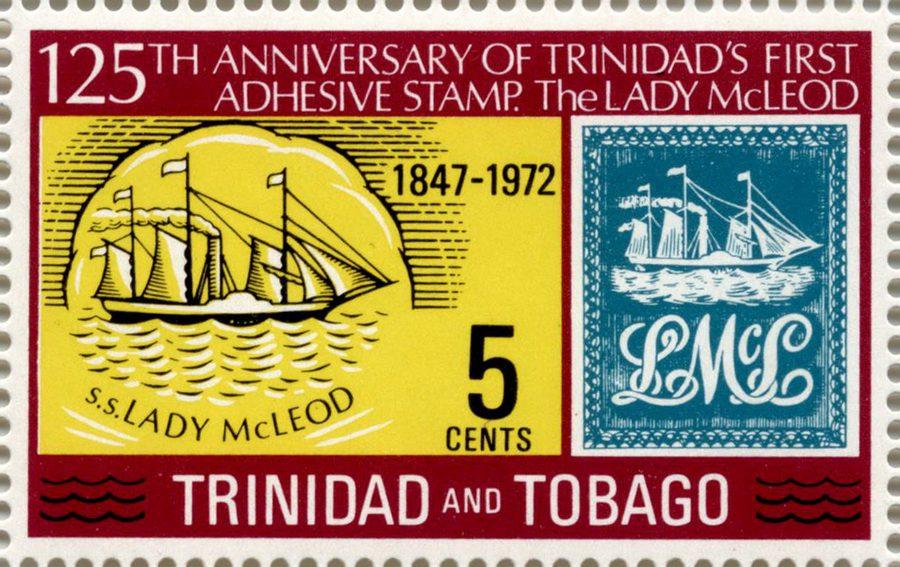 Первая марка с изображением парусника – Lady McLeod (Тринидад)