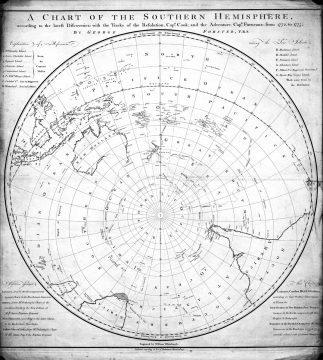 Карта путешествия Джеймса Кука
