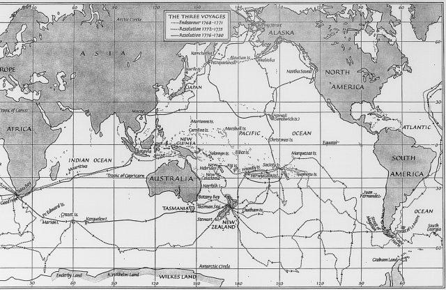 Карта путешествий Джеймса Кука