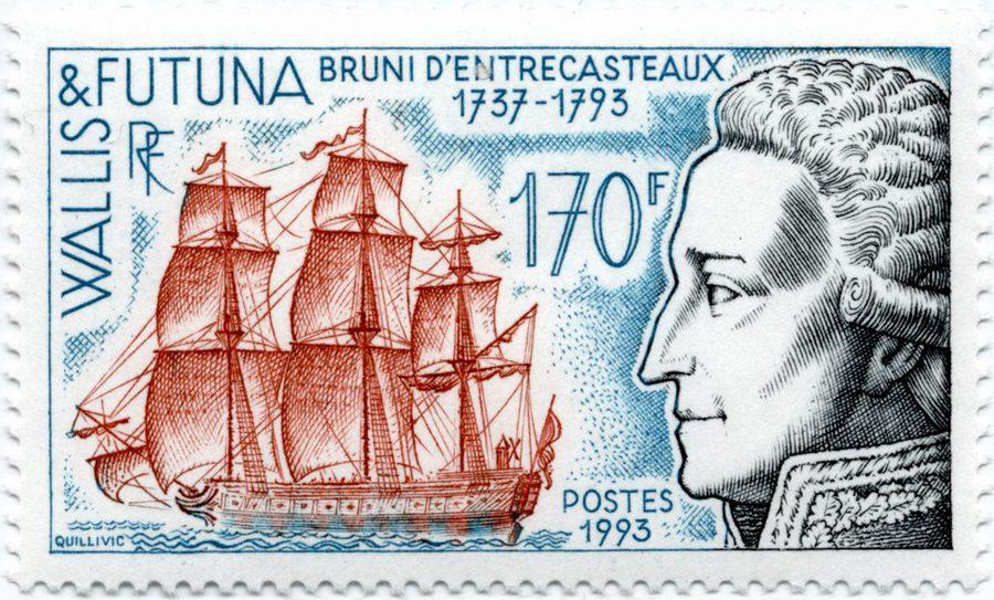 Жозеф Антуан де Брюни д'Антркасто и марки Уоллиса и Футуны