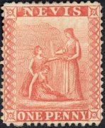 Первая марка Невис, 1861