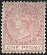 Первая марка Сент-Кристофор, 1870