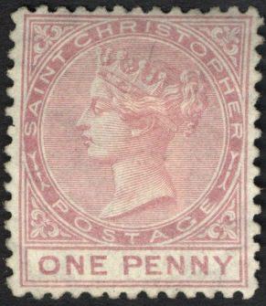 Первая марка Сент-Кристофер, 1870