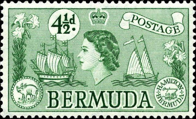 марка Елизавета II. Бермудские острова 1953