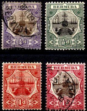 Dry dock. Стандартный выпуск марок Бермудских островов 1902-1910 гг.