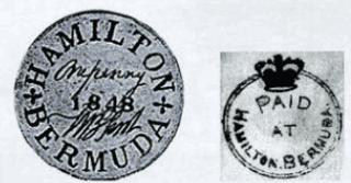 Первые почтовые марки Бермудских островов