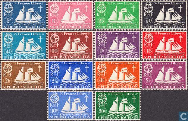 Сен Пьер и Микелон. Стандартный выпуск марок 1942 г
