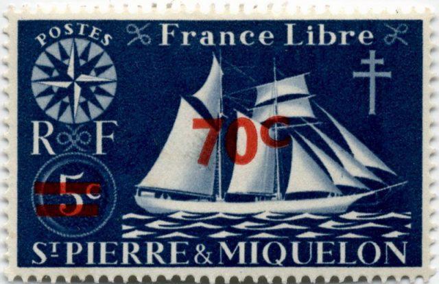 марка Сен Пьер Микелон 1945