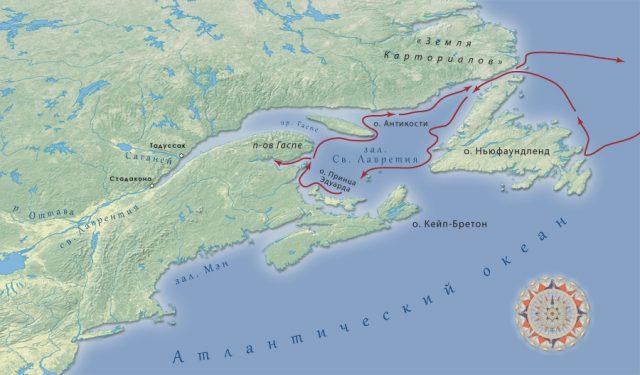 Карта путешествия Жака Картье, 1534