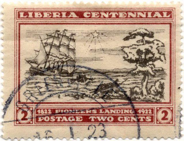 марка Либерия парусник