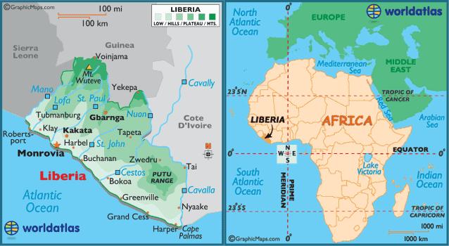 Карта Либерии