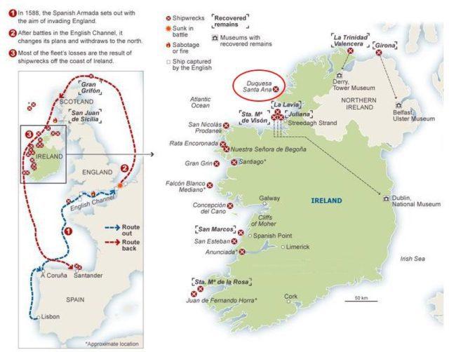 Карта гибели кораблей Непобедимой Армады у берегов Ирландии