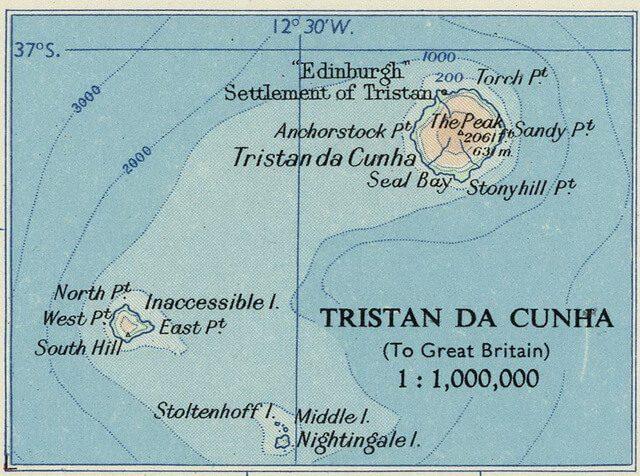 Тристан-да-Кунья карта