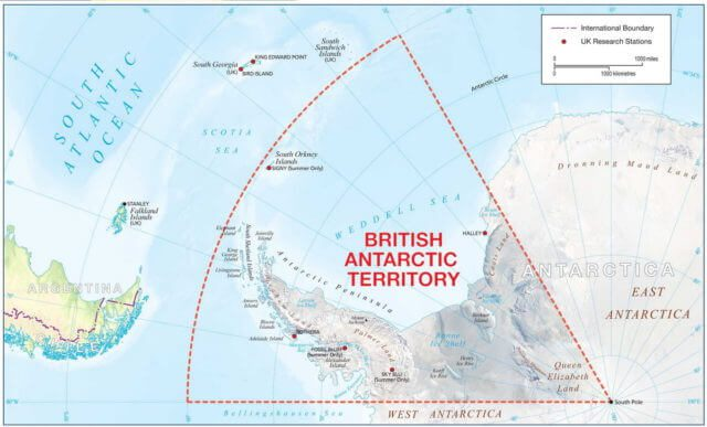 Британские Антарктические Территории карта