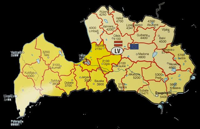 Карта Латвии почтовые индексы