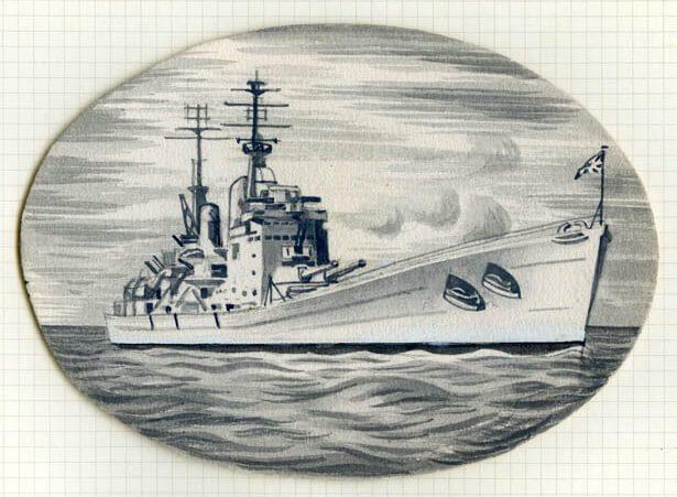 """HMS """"Vanguard"""", эскиз марки"""