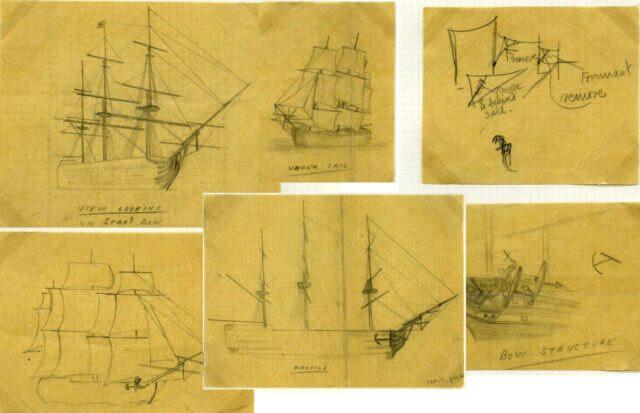 Эскизы к марке HMS Victory